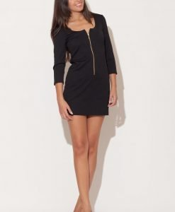 Black Zip Down Short Dress with 3/4 Sleeves - Dresses -