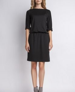 Black casual dress with elasticized waist - Dresses -