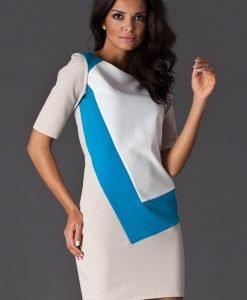 Blue Asymmetrical Color Block Shirt Dress - Dresses -