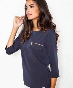 Blue Blouse with ¾ Sleeves and Back Zipper Fastening - Blouses > Blouses Short Sleeve -