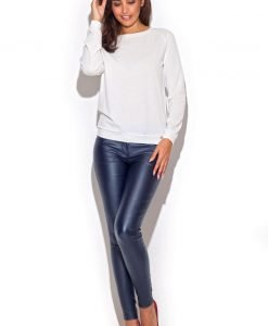 Blue Skinny Fit Pants with Twin Hip Pockets - Trousers -