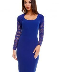Blue Sleeveless Dress with Short Lace Jacket - Dresses -