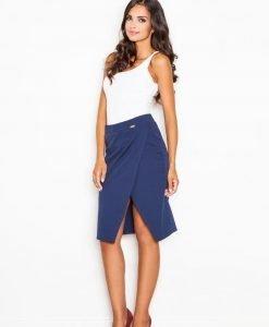 Blue Wrap-Around Skirt with Slit - Skirts -