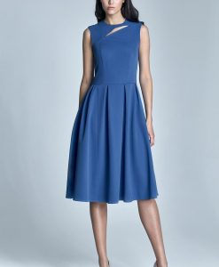 Blue pleated dress with cut out neckline - Dresses -