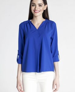 Blue pleated front blouse with button tab sleeves - Blouses -