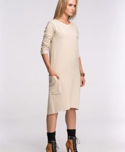 Box Shaped Beige Shift Dress - Dresses -