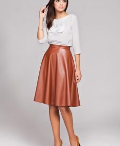 Brown Leather Flared Knee Length Skirt - Skirts -