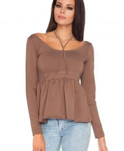 Brown Wide Round Neckline Blouse with Pleated Waist - Blouses > Blouses Long Sleeve -