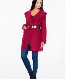 Cape Collar Maroon Wrap-Around Coat with Shimmer Waist Belt - Outerwear > Jackets and coats -