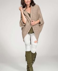 Cappuccino cardigan cape with wide shoulders - Sweaters -