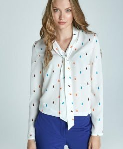 Chic Printed Blouse With Sash - Blouses -