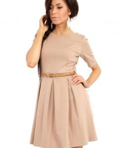 Coffee Magnanimous Modern Belted Tea-length Dress - Dresses -