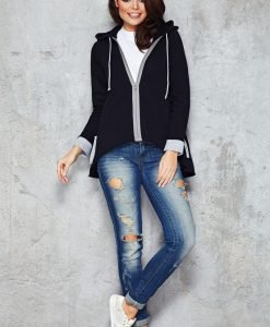 Cool Black Parabola Hemline Hoodie with Contrast Details - Blouses > Blouses Long Sleeve -