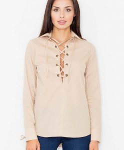 Cream collared shirt with crisscross lace neckline - Shirts -