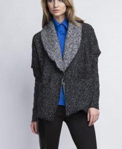 Dark Grey Oversize Blazer without Closure - Outerwear > Blazers -