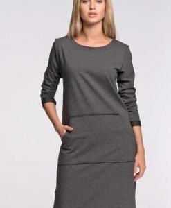 Dark Grey Shift Dress with Kangaroo Pockets - Dresses -