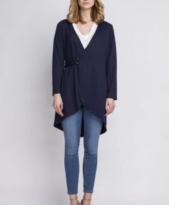 Dark blue crossover long cardigan with buckle fastening - Sweaters -