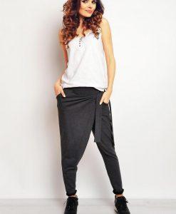 Dark grey baggy pants with self tie belt - Trousers -
