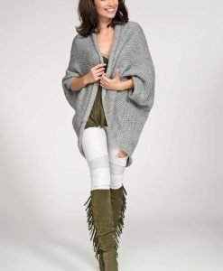 Dark grey cardigan cape with wide shoulders - Sweaters -