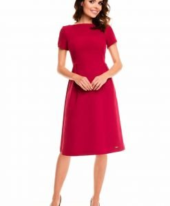 Dark red school dress with back zipper - Dresses -