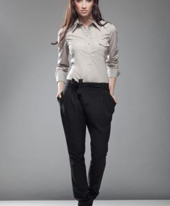 Drop Crotch Black Pants with Asymmetrical Bow Fastening - Trousers -