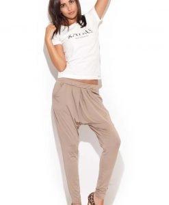 Drop Crotch Stretch Pleated Ecru Pants - Trousers -