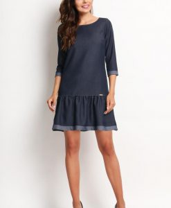 Drop Waist Denim Dress with Contrast Trim - Dresses -
