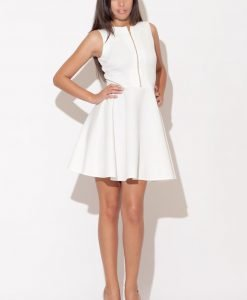 Ecru Light Hearted Sleeveless Flare Date Dress - Dresses -