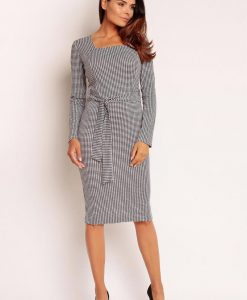 Elegant Grey Midi Dress with Self Tie Belt - Dresses -