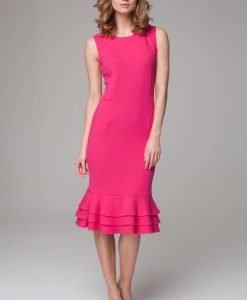 Elegant dark pink midi dress with ruffled hemline - Dresses -