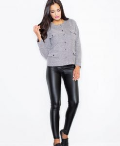 Flecked Grey Cropped Jacket with Twin Chest and Side Pockets - Outerwear > Jackets and coats -