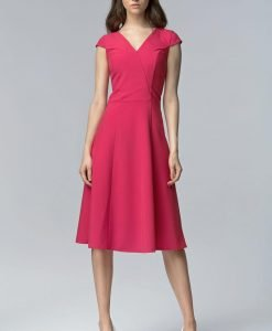 Fuchsia V Neck Cross Bodice Seam Dress with Cap Sleeves - Dresses -