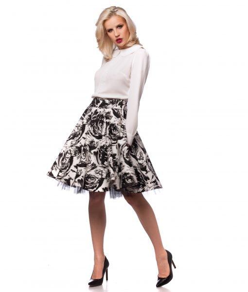 Fusta imprimeu floral alb-negru 4007 – FUSTE – Fusta