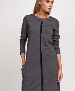 Graphite Color Formal Dress With Central Seams - Dresses -