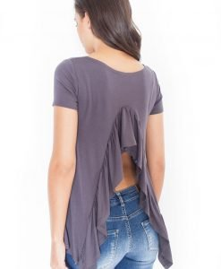 Grey Asymmetrical T-Shirt Blouse with Slit Waterfall Back - Blouses > Blouses Short Sleeve -