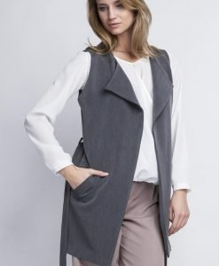 Grey Elegant Overlap Blouse With Belt - Blouses -