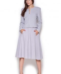 Grey Semi Zipper Up Ladies Blazer with Front Logo Patch - Outerwear > Blazers -