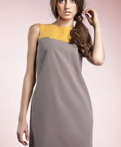 Grey Sleeveless Colour Block Panel Dress - Dresses -