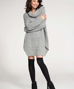Grey long sweater with slits - Sweaters -