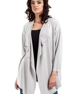 Grey waterfall neckline blazer - Outerwear > Blazers -