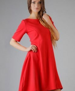 Lake Red High Fad Dress with Dipped Hem - Dresses -