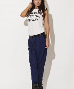 Leather Trimmed Blue Pants with Drawstringsy - Trousers -