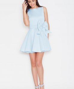 Light Blue Pleated Short Dress with Bow Belt - Dresses -