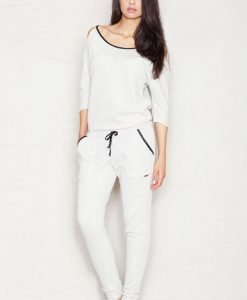 Light Grey Jumpsuit with Cut Out Shoulders - Trousers -