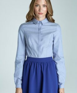 Light-blue Modern Style with Pintuct Front Office Shirt - Shirts -