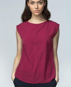 Maroon High Neck Sleeveless Blouse with Curved Hemline - Blouses -