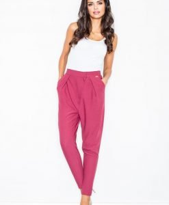 Maroon Tapered Trousers with Fitted Waist - Trousers -