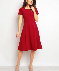 Maroon midi seam dress with back zipper - Dresses -
