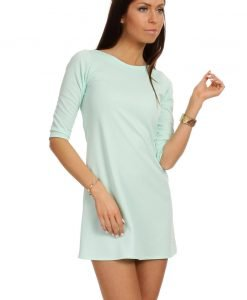 Mint Shift Dress with Metallic Emblem - Dresses -