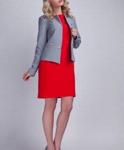 Modern Grey Collarless Open Blazer - Outerwear > Blazers -